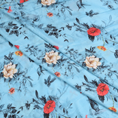 Sky Blue-Black and Red Flower Silk Crepe Fabric-18110
