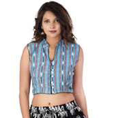 Sky Blue-Black and White Cut Sleeve Cotton Ikat Blouse-30228