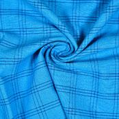 Sky Blue Blue Check Handloom Cotton Fabric-40880