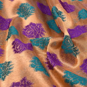 Sky Blue-Blue and Golden Floral Design Brocade Silk Fabric-5396