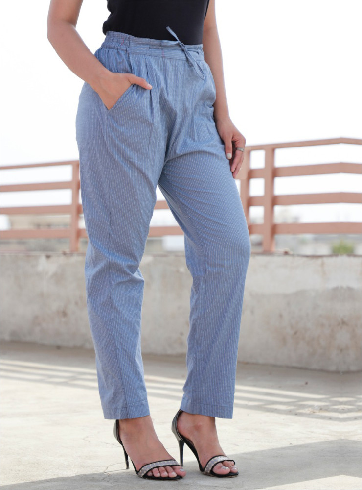 Sky Blue Cotton Narrow Pant-33473