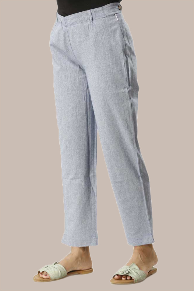 Sky Blue Cotton Samray Ankle Length Pant-33714