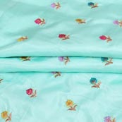 Sky Blue Cyan and Yellow Flower Chinnon Embroidery Fabric-29272