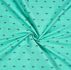 Sky-Blue Golden Polka Zari Taffeta Silk Fabric-12662