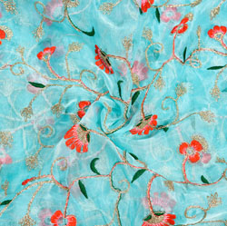 Sky-Blue Golden and Red Floral Embroidery Organza Silk Fabric-22065
