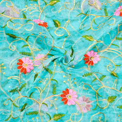 Sky-Blue Green and Golden Floral Embroidery Organza Silk Fabric-22064