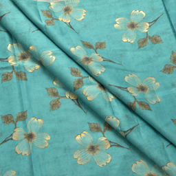 Sky Blue-Green and Golden Flower Pattern Jam Cotton Silk Fabric-75006