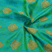 Sky Blue-Green and Golden Leaf Pattern Soft Brocade Silk Fabric-8105