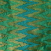 Sky Blue-Green and Golden Zig Zag Pattern Chanderi Fabric-4391