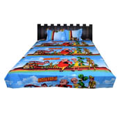 Sky Blue Motu Patlu  Print Cotton Double Bed Sheet -0K9