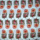 Sky Blue Orange and Green Hand Leaves Pattern Block Print Cotton Fabric