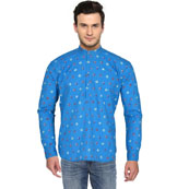 Sky Blue Pink Block Cotton Short Kurta-33167