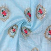 Sky Blue Pink Embroidery Organza Silk Fabric-51626
