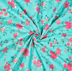 Sky Blue Pink Floral Cotton Fabric-28575