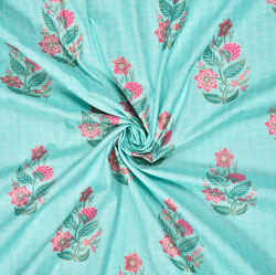 Sky Blue Pink Floral Cotton Fabric-28593
