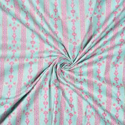 Sky Blue Pink Stripe Cotton Fabric-28594