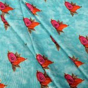Sky Blue-Pink and Red Jam Cotton Silk Fabric-75073