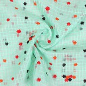 Sky Blue Red and Black Floral Embroidery Organza Silk Fabric-51695