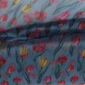 Sky Blue Red and Yellow Digital Organza Silk Fabric-51599