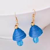 Sky Blue Silk Handcrafted Jhumki with Sky Blue Stone Drop for Women