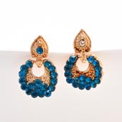 Sky Blue Stone Circular Design with Golden Polish Earring for Women
