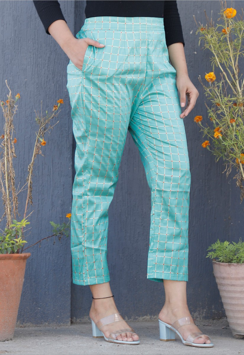 Sky Blue White Brocade Silk Ankle Women Check Pant-34329