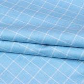 Sky Blue White Checks Wool Fabric-90107