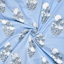 Sky Blue White Floral Cotton Fabric-28601