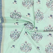 Sky Blue White and Black Kantha tree Print Cotton Fabric-15133