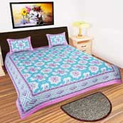 Sky Blue White and Pink flower printed Bedsheet with 2 Pillow Covers