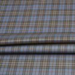 Sky Blue Yellow Check Wool Fabric-90130