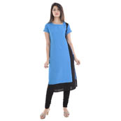 Sky Blue and Black Cap Sleeve A Line Rayon Kurti-3006