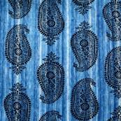 Sky Blue and Black Paisley Pattern Block Print Cotton Fabric-RL4314