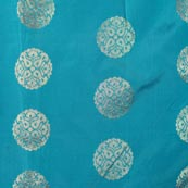Sky Blue and Golden Circular Pattern Brocade Indian Fabric-4277