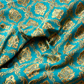 Sky Blue and Golden Floral Design Brocade Silk Fabric-5334