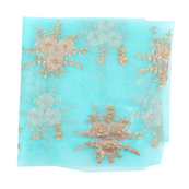 Sky Blue and Golden Flower Embroidery Net Fabric-60885