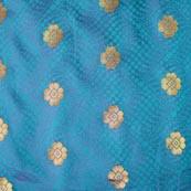 Sky Blue and Golden Flower Pattern Chanderi Fabric-4375