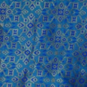 Sky Blue and Golden Indian Brocade Fabric-4299