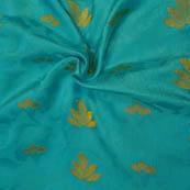 Sky Blue and Golden Leaf Pattern Soft Brocade Fabric-8115