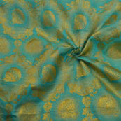 Sky Blue and Golden Pot Pattern  Brocade Silk Fabric-8123