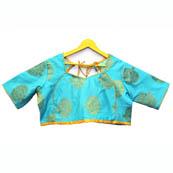 Sky Blue and Golden Tree Silk Brocade Blouse-30106