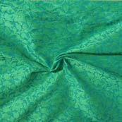 Sky Blue and Green Leaf Pattern Brocade Silk Fabric-8003