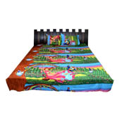Sky Blue and Green  Print Cotton Double Bed Sheet -0K10