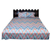 Sky Blue and Orange Rajasthani Kantha Work Cotton Double Bed Sheet-0D14