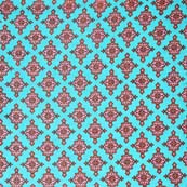 Sky Blue and Pink Orange Traditional Pattern Block Print Cotton Fabric