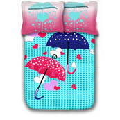Sky Blue and Pink Print Cotton Double Bed Sheet -0HH17