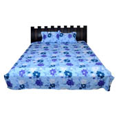 Sky Blue and Purple Floral Rajasthani Cotton Double Bed Sheet-0D46