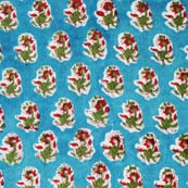 Sky Blue and Red Flower Pattern Block Print Cotton Fabric by the yard
