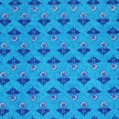 Sky Blue and White Blue Flowers Pattern Block Print Cotton Fabric