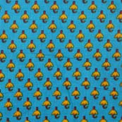 Sky Blue and Yellow Floral Pattern Block Print Cotton Fabric by the yard